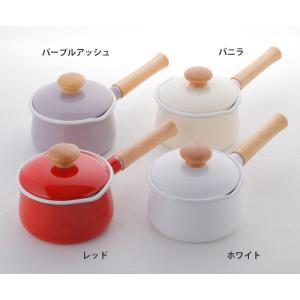 富士ホーロー IH対応 ミルクパン 15cm フタ付き レッド・ホワイト 片手鍋 C-15M|cooking-clocca|08