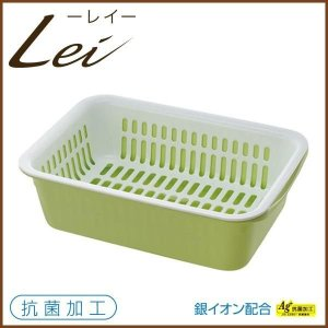 【レイ】 水切りセットL グリーン(リッチェル・Lei・緑色・シンクまわり・水切りカゴ・抗菌加工・銀イオン配合・水切りかご)/5P13oct13_b|cooking-clocca