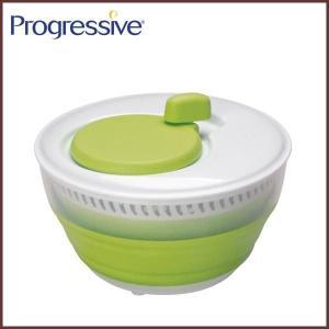 Progressive(プログレッシブ) 折りたためる サラダスピナー◆水切り/水切り器/折りたたみ/収納/キッチンツール/ボウル/ザル/コランダー|cooking-clocca