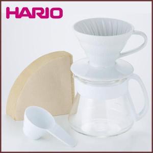 【HARIO(ハリオ)】セラミック(陶器)ドリッパー&コーヒーサーバーセット ホワイト 計量スプーン&ペーパーフィルター付き◆コーヒー器具/セット/|cooking-clocca