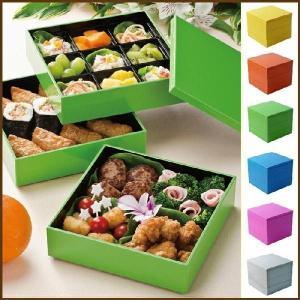 パーティボックス 180 party box 3段 中子9個付き ゴムバンド付き 福井クラフト イエロー オレンジ グリーン ブルー ピンク ホワイト|cooking-clocca