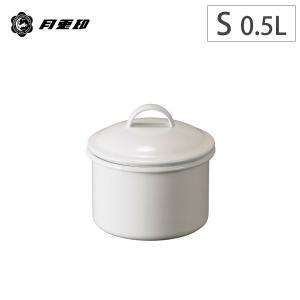 月兎印 ホーロー 蓋付き キャニスター S (10cm 0.5L)ホワイト 丸型 野田琺瑯 ホーロー容器|cooking-clocca