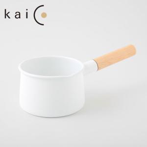 【kaico】ホーロー ミルクパン 15cm 1.45L ホワイト◆ih対応/IH 200V/カイコ/琺瑯/白色/ホワイト/片手鍋/ホーロー鍋/琺瑯|cooking-clocca