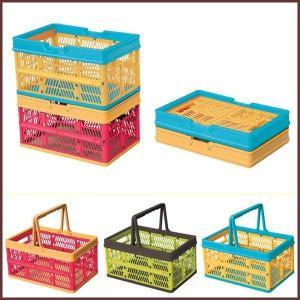 フォールディングボックス (ピンク・グリーン・オレンジ)◆スタッチボックス/かご/カゴ/ボックス/インテリア/雑貨/キッチン雑貨/収納/リビング/キ|cooking-clocca