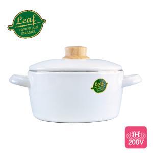 富士ホーロー ホワイトリーフ ホーロー キャセロール 20cm 3.0L 送料無料 IH対応 両手鍋|cooking-clocca