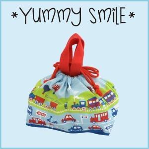 キッズ ランチ巾着 ブルー YUMMY SMILE ヤミースマイル ランチバッグ 弁当 巾着袋 お弁当グッズ ランチバック 弁当袋 お弁当袋|cooking-clocca