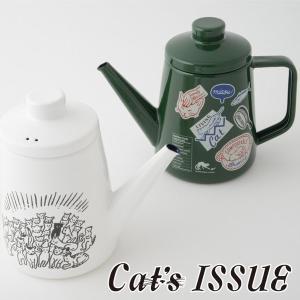 Cat's ISSUE キャッツイシュー ドリップポット ホワイト・グリーン LM-1.0DP 富士ホーロー|cooking-clocca
