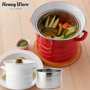富士ホーロー パスタポット 20cm N-20P レッド/ホワイト IH対応  バスケット付き 送料無料 パスタ鍋 ホーロー鍋|cooking-clocca