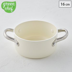 グリーンシェフ ビンテージ ホワイト オープン キャセロール 16cm IH対応 クックウェアカンパニー 2728 両手鍋 送料無料|cooking-clocca