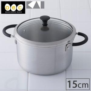 貝印 o.e.c. minima ミニマ 両手鍋深型 15cm ガラス蓋付き キッチンツール 調理器具|cooking-clocca