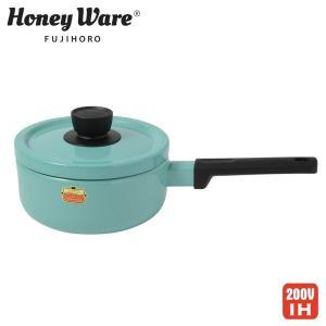 ハニーウェア ソリッド ホーロー ソースパン 18cm ターコイズ IH対応 富士ホーロー 送料無料|cooking-clocca
