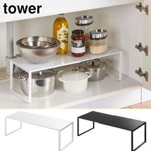 tower タワー 伸縮収納棚 ホワイト ブラック 3865 3866 山崎実業 yamazaki キッチン収納 送料無料 cooking-clocca