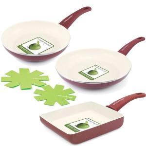 ビタベルデ ソフトグリップ バーガンディレッド フライパン 20cm&26cm&エッグパン セット 保護シート2枚付き|cooking-clocca