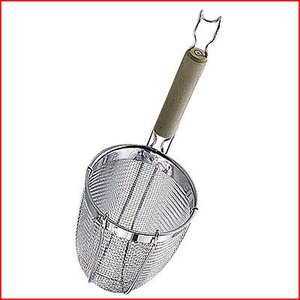 麺の湯切り スリースノー 木柄うどんてぼ Φ13.5×深16cm 丸底 18-8ステンレス 茹で上げ麺湯切り うどん湯切り 手つき煮ざる てぼざる|cookwares