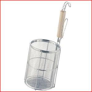 麺の湯切り スパゲティてぼ Φ13×18cm 白木柄 パスタの湯上げ・湯切り 茹で上げ麺湯切り パスタ湯切り 手つき煮ざる てぼざる cookwares