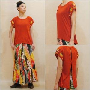 〜Lサイズ【セレクト商品】背中のスリットがカワイイ◆お花刺繍のトップス|cool-klothes