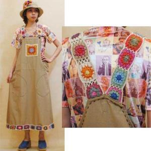 フリーサイズ【セレクト商品】ネパール製◆カラフル手編みのモチーフ◆ジャンパースカート◆|cool-klothes