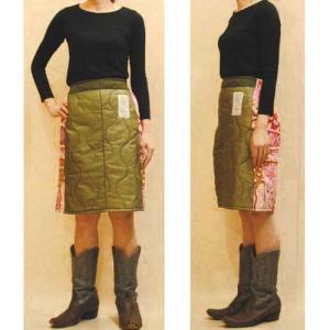 S〜Lサイズ【オリジナルリメイク】サイケポップヴィンテージとミリタリーヴィンテージのコラボ◆キルティングミドル丈スカート【中古】|cool-klothes