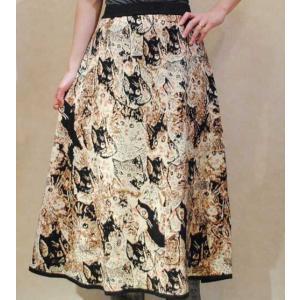 S〜Lサイズ【セレクト商品】たくさんのネコたち◆ニット素材◆ロングスカート |cool-klothes