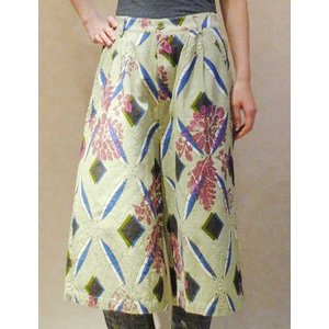 S〜Lサイズ【セレクト商品】モスグリーンの幾何にボタニカルプリント◆ガウチョパンツ |cool-klothes