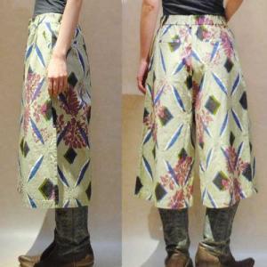 S〜Lサイズ【セレクト商品】モスグリーンの幾何にボタニカルプリント◆ガウチョパンツ  cool-klothes 02
