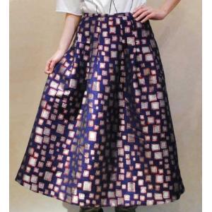 S〜Lサイズ【セレクト商品】紺にシルバーのジャカード織◆コクーンシルエット◆ロングスカート |cool-klothes