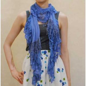 【アメリカ製古着】ヴィンテージ◆グレイッシュブルーの麻とレース素材◆ショール◆ストール【中古】◆|cool-klothes