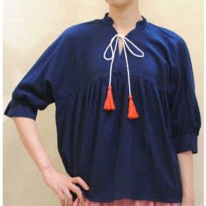 S〜XLサイズ【セレクト商品】楊柳素材◆ネイビーのゆったりトップス |cool-klothes