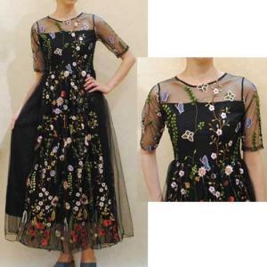 XS〜Mサイズ【セレクト商品】ブラックチュールに豪華刺繍◆ロング丈ワンピース |cool-klothes