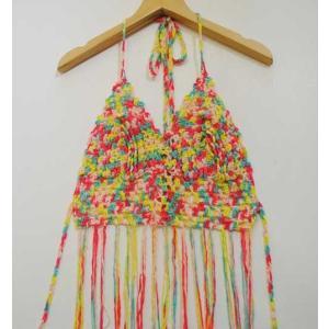 フリーサイズ【オリジナルセレクト商品】ネオンカラーの手編み×フリンジ◆ヒッピートップス |cool-klothes