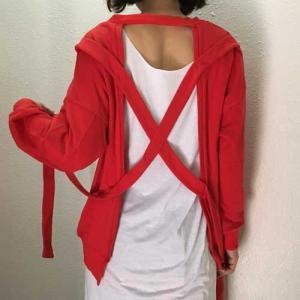 フリーサイズ【オリジナルセレクト商品】バックスタイルのデザインの赤いトレーナー|cool-klothes