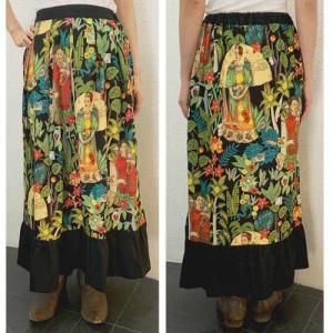 S〜Lサイズ【クールクローズオリジナル】ジャングルの中のフリーダカーロ◆ロングスカート|cool-klothes