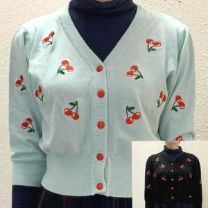S~Lサイズ【オリジナルセレクト商品】キュートなチェリー刺繍のカーディガン◆カーディガン|cool-klothes