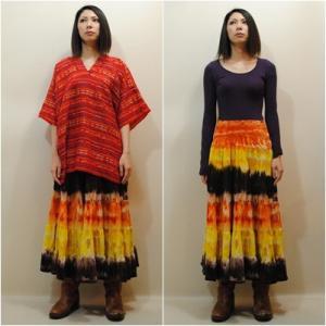 大きいサイズ◆S〜2Lサイズ【アメリカ古着】タイダイ◆シャーリング◆ロングティアードスカート【中古】|cool-klothes