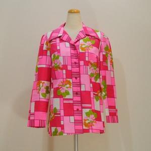 M〜XLサイズ【アメリカ製古着】ヴィンテージ◆キュートなピンクのプリント◆ブラウスジャケット【中古】|cool-klothes