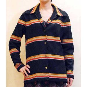 S〜Xサイズ【アメリカ製古着】1970年代ヴィンテージ◆黒地に赤黄白のボーダー◆ゆったりシルエット◆ジャケット【中古】◆|cool-klothes