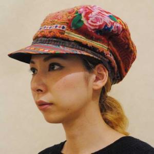 55〜60サイズ【タイ製古着】モン刺繍のヴィンテージ◆パッチワーク◆キャスケット帽【中古】◆|cool-klothes