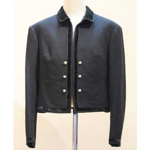 S〜Lサイズ【ヨーロッパ製古着】ヴィンテージ◆ブラックウールにベルベットトリミング◆ジャケット【中古】◆|cool-klothes
