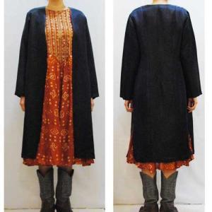 M〜XLサイズ【アメリカ製古着】1970年代ヴィンテージ◆シルク100%のネイビーに金糸のロングジャケット【中古】|cool-klothes
