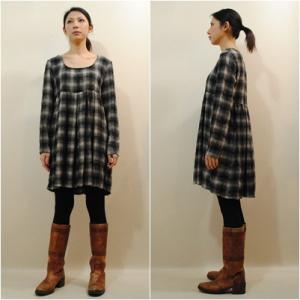 S〜Lサイズ【アメリカ古着】グラデーションチェック◆混毛チュニック 【中古】|cool-klothes