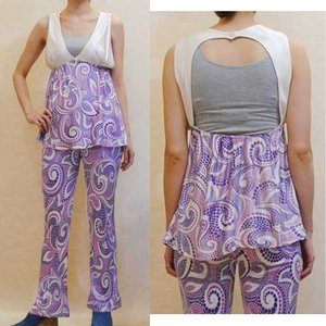 XS〜M【アメリカ製古着】1960年代ヴィンテージ◆紫ドットプリント◆バックスタイルがセクシーなパンツスーツ【中古]|cool-klothes