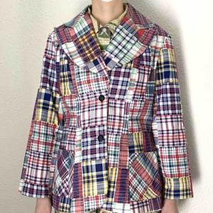 S~Lサイズ【アメリカ製古着】1960年代ヴィンテージ◆Sears◆いろいろチェックのパッチワーク風プリント◆ジャケット【中古】|cool-klothes