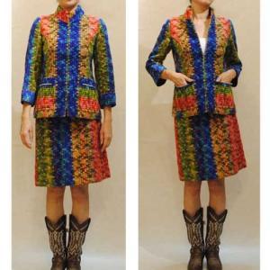 送料無料★XS〜Mサイズ【アメリカ製古着】1970年代ヴィンテージ◆マルチストライプの高級感ある織生地◆スカートスーツ【中古】◆|cool-klothes