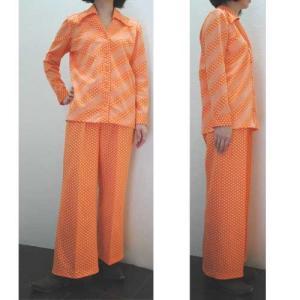 S〜Lサイズ【アメリカ製古着】1960年代ヴィンテージ◆ポップなオレンジドットストライプ◆パンツスーツ【中古】|cool-klothes