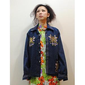 M〜2Lサイズ【アメリカ古着】1970年代ヴィンテージ◆メキシコ蝶々の刺繍デニムジャケット【中古】|cool-klothes