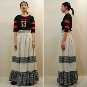 S〜XLサイズ【アメリカ古着】1960年代ヴィンテージ◆生成りギンガムチェック◆マキシ丈(ロング)スカート【中古】|cool-klothes