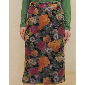 XS〜Mサイズ【アメリカ製古着】1970年代ヴィンテージ◆ベロア素材の綺麗な花柄◆ミドル丈スカート【中古】|cool-klothes