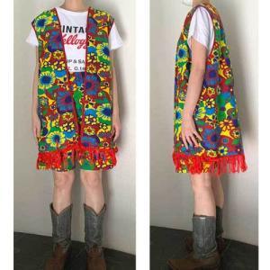 S~Lサイズ【アメリカ製古着】メキシコ製ヴィンテージ◆バーガンディーにサイケ花柄◆ベスト&パンツ◆パンツスーツ【中古】|cool-klothes