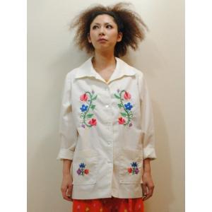 S〜XLサイズ【アメリカ古着】1960年代ヴィンテージ◆メキシコ刺繍風◆ホワイトシャツジャケット【中古】|cool-klothes
