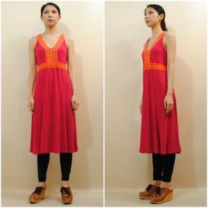 S〜Lサイズ【アメリカ製古着】1960年代ヴィンテージ◆赤にオレンジのレース編み◆ミドル丈ワンピース【中古】|cool-klothes